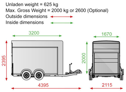 Side Opening Twin Axle Box Trailer - Roadster C500