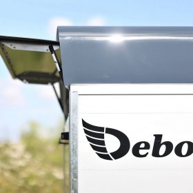 Debon box van trailer with rear flap open