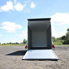 single axle box van trailer rear door open rear view