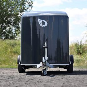 dual axle box van trailer with black nose cone front view