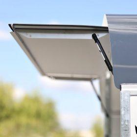 box van trailer with rear door top flap open