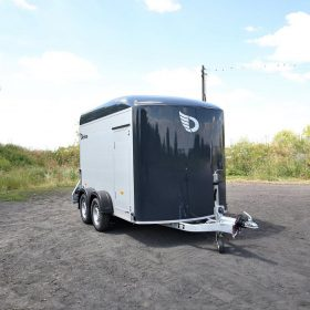 dual axle box trailer with rear door open front view