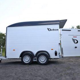 dual axle box trailer with rear door open