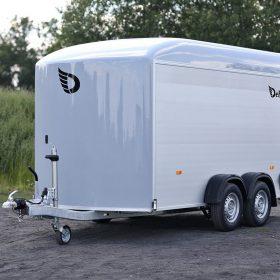 dual axle box trailer white nose cone