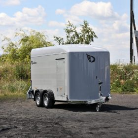 dual axle box trailer white