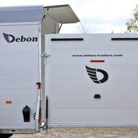 large dual axle box van trailer with rear door open