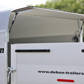 large dual axle box trailer with rear door open close up