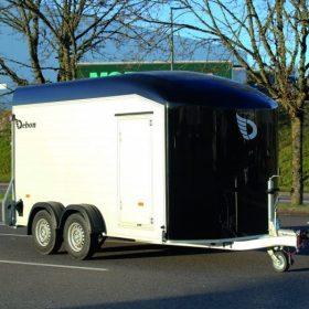dual axle box van trailer black nose cone
