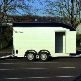 dual axle box trailer with rear door / ramp down