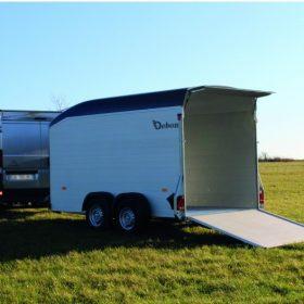 dual axle box trailer with rear door / ramp down in field
