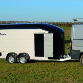 dual axle box trailer with side door open
