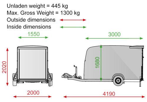 Cargo Trailer 1300 Single Axle Box van trailer