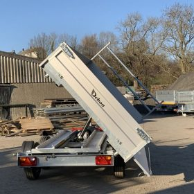 tipper trailer, tipped up, Double Axle 3 way tipping trailer